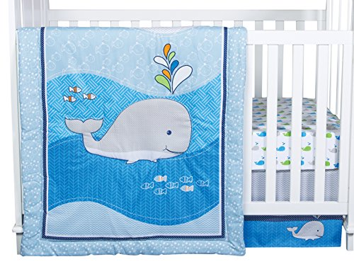 Trend Lab Whale Time 4 Piece Crib Bedding Set, Blue