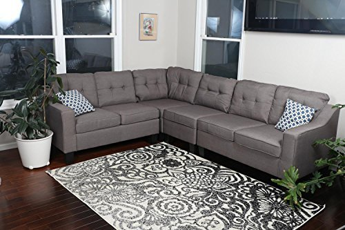 "Oliver Smith Sectional Sofa, Brown Grey - Fixed Plush Back Cushions to keep things neat Adjustable Left or Right. 106"" W x 83"" D x 34"" H Fast Assembly - Just Screw on the Feet - sofas-couches, living-room-furniture, living-room - 51dIxrZNwYL -"