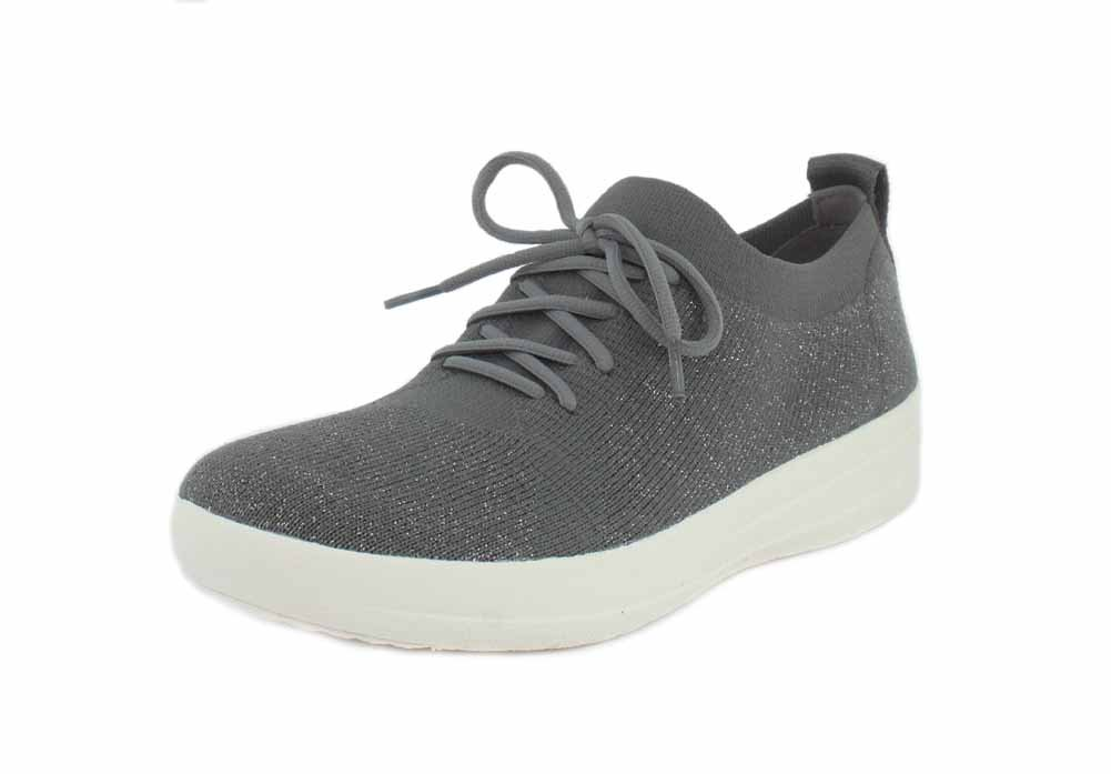 FitFlop Damen Anthrazit, F-Sporty Uberknit Sneakers-Metallic Sneaker, Anthrazit, Damen 36.5 EU Grau eea956
