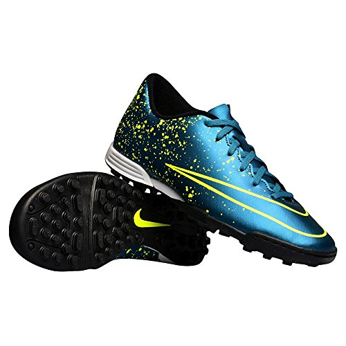 Nike Mercurial Vortex II TF Botas de fútbol, Hombre Azul / Negro / Verde (Squadron Blue / Sqdrn Bl-Blk-Vlt)
