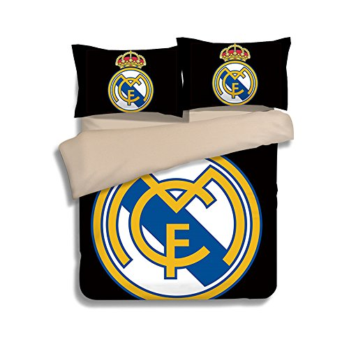 3D Kids Cartoon Real Madrid Duvet Cover - Jameswish 2017 New Design Famous Soccer Club Bed Linen Including 1Duvet Cover 2Pillowshams Polyester Fiber 4-Season Suitable King Queen Full Twin Size