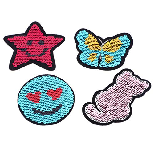 Self-Adhesive Reversible Sequin Patches Stick on Sew on Patch Applique Flip Up Sequin Patches Heart Crown DIY Sewing Applique (Pack of ()