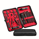 Upgrade 18-in-1 Manicure Set, HathLove Nail Kit and Pedicure Set for Men, Professional Stainless Stell Nail Clippers, Nail Grooming Kits for Women with Black Travel Case