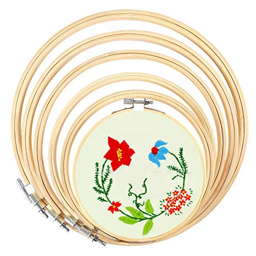 BigOtters 6PCS 6 Sizes Embroidery Hoops, Wooden Round Adjustable for 4.7 inch to 10.6 inch Bamboo Circle Cross Stitch…