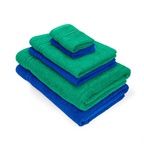 Essential Plus Set of 6 Bath Towel (2B,2H,2F)(Green/Blue)