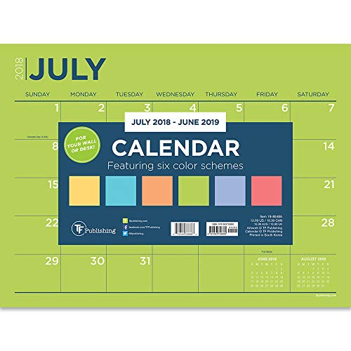 (TF Publishing 19-8548A July 2018 - June 2019 Color Collection Mini Desk Pad Calendar, 12 x 9
