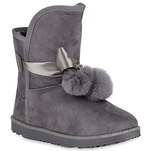 Stiefelparadies Damen Stiefeletten Schlupfstiefel Warm Gefütterte Stiefel Schuhe Flandell Grau Camargo