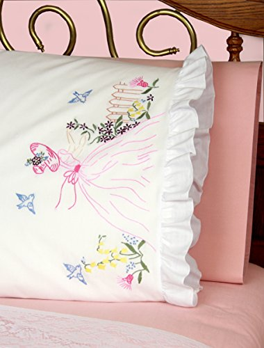 (Fairway Needlecraft 82511 Vintage Ruffled Edge Pillowcases, Butterfly Lady Design, Standard, White)