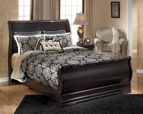 queen sleigh bed dark burgundy finish furniture ashley frame broke assembly prices