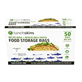 Lunchskins Recyclable + Resealable Paper Food Storage Bags Sandwich Size, Shark Box of 50