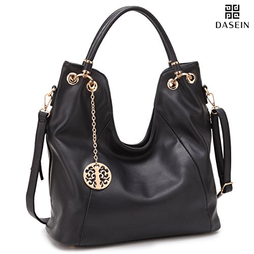 Zip Black Purse Top (Shoulder Hobo Bag Top Zip Purse Fashion Vegan Handbag w/Long Strap Side Zipper Pockets Black)