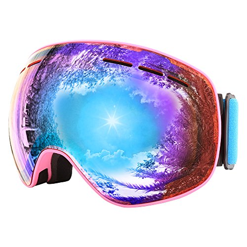 JIEPOLLY Ski Goggle Anti Fog Magnet Fast Changing Lens Pink Frame Orange Lens UV400 For Winter Out Door Sports