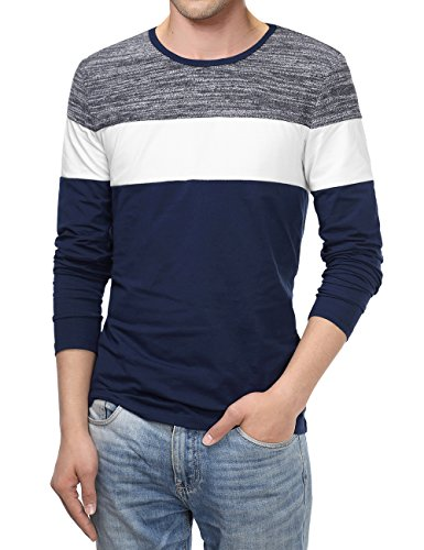 KAIUSI Men's Color Block Contrast Crew Neck Long Sleeve Casual T-Shirt Top Medium Blue #2