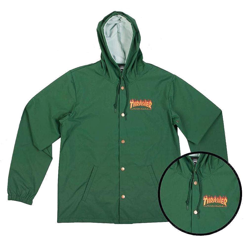 XL Thrasher Magazine Flames Logo Hooded Coach Windbreaker Jacket Forest Green