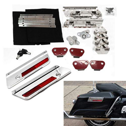 SaddleBag Hardware Chrome Latch Cover Hinges Kit with locks for Harley-Davidson Touring FLH FLHT Road King Ultra Classic Street Glide 1994-2013