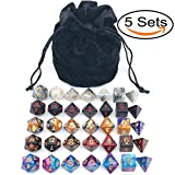d and d dice - Assorted Polyhedral Dice Set with Black Drawstring Bag, 5 Complete Dice Sets of D4 D6 D8 D10 D% D12 D20 Great for Dungeons and Dragons DnD RPG MTG Games