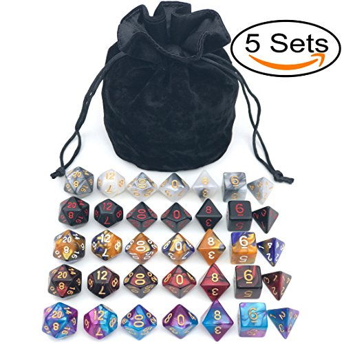 Assorted Polyhedral Dice Set with Black Drawstring Bag, 5 Complete Dice Sets of D4 D6 D8 D10 D% D12 D20 Great for Dungeons and Dragons DnD RPG MTG Games Polyhedral Set