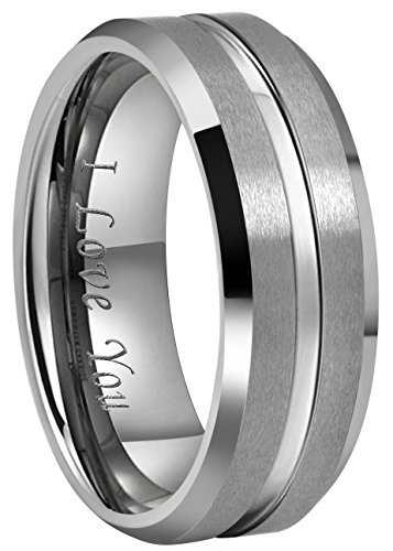 Crownal 10mm 8mm 6mm Tungsten Wedding Band Ring Engraved ''I Love You'' Men Women Polished Groove Matte Finish Beveled Edges (8mm,10) by CROWNAL