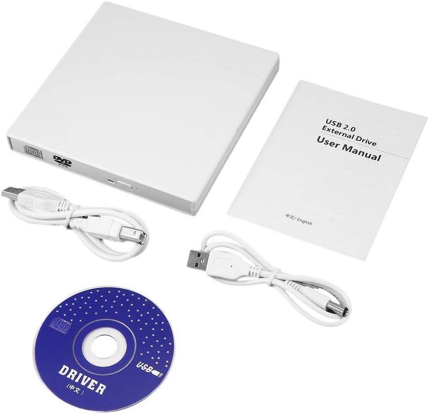 BoMiVa Usb White External Combo Optical Drive Cd//Dvd Player Cd Burner For Pc Laptop Win 7 8
