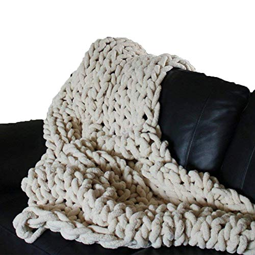 (Crocheted Vegan Blanket Rice White Chenille Blanket Chunky Knit Blanket Chunky Knit Throw 31x31inch Arm Knit Blanket Super Thick Blanket for)