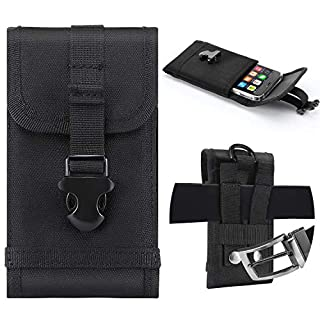 Premium Outdoor MOLLE Tactical Military Pouch Army Black Waist Holster with Belt Clip for iPhone X 6 6s 7 Plus 8 Plus ,Samsung Galaxy Note 8 S7 S8 S6 Edge (Fits will a Slim Hard Case Bumper Cover On)