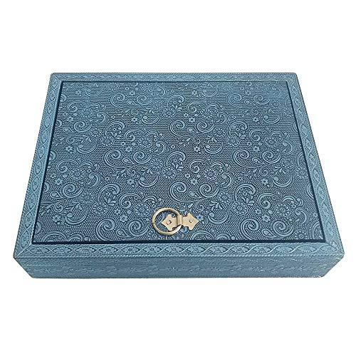 HAB & GUT -BOX041- joyero con Espejo y Adornos Azul, 25 x 20 x 5 cm