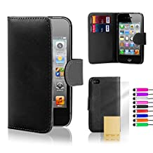 32nd® Book wallet PU leather case cover for iPhone 4 4S + screen protector, cleaning cloth and touch stylus - Black