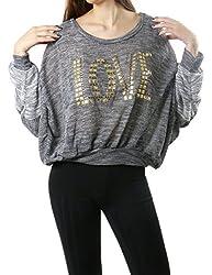 LOVE Embellish Round Neck Sweatshirt Top for Women (MEDIUM, CHARCOAL-T14155)