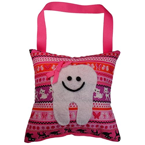 Tooth Fairy Pillow Keepsake, Girl's Butterfly, Kitten and Cat Glitter Sparkle Print - Pink, Tangerine, and - Bath Kit Tangerine