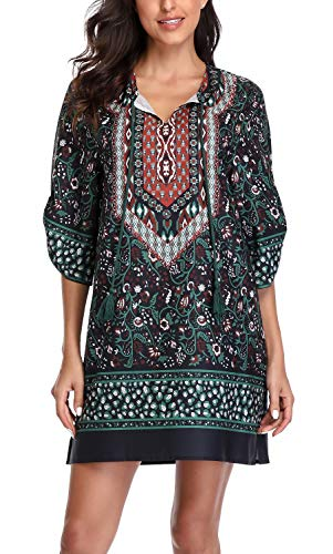 Dress Pattern Neck - Women Bohemian Neck Tie Vintage Printed Ethnic Style Summer Shift Dress (L, Pattern 25)