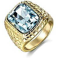 Promsup 18k Gold Filled Aquamarine Light Blue Sapphire Crystal Mens Fashion Steel Rings (8)