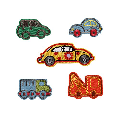Hwafan Mix 5PCS Boys Kids Small Cartoon Car Decal Fabric Iron On Patches Embroidered Motif Badge DIY Decoration Applique For Jeans ()