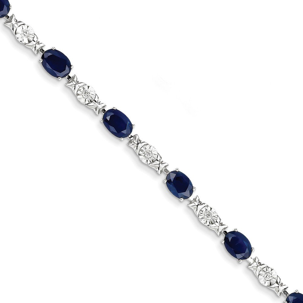 14K White Gold Diamond and Sapphire Bracelet (Color I-J, Clarity I1-I2) by Jewelry Pot