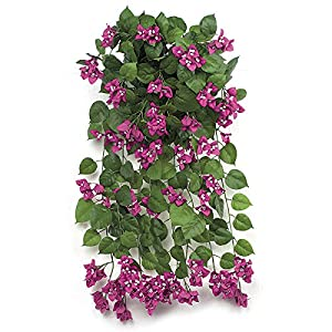 "SilksAreForever 36"" IFR Artificial Hanging Bougainvillea Flower Bush -Purple (Pack of 2) 96"