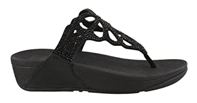 9c1d2aa4af68d4 FitFlop Women s Bumble Crystal Toe Post Sandals Black 5