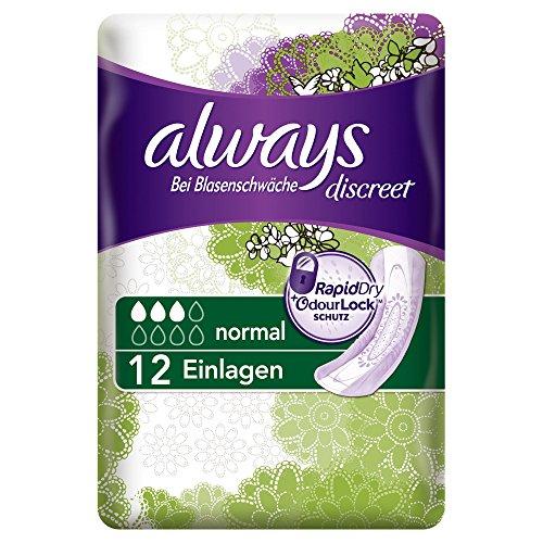 Always Discreet Inkontinenz Einlagen Normal Bei Blasenschwäche Einzelpack, 2er Pack (2 x 12 Stück)