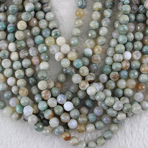 Faceted Strand - HAAMIIQII 8mm Natural Amazonite Beads Faceted Round Loose Gemstone Beads for Jewelry Making Strand 15 Inch (47-50pcs)