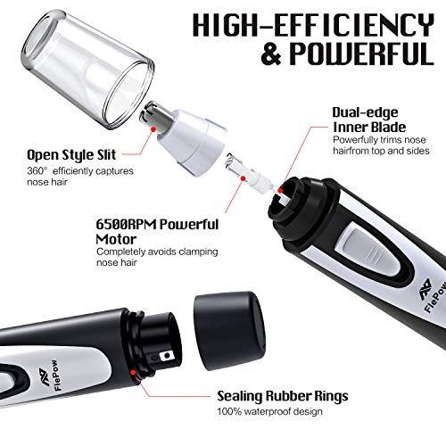Ear and Nose Hair Trimmer Clipper - 2019 Professional Painless Eyebrow and Facial Hair Trimmer for Men and Women, Battery-Operated, IPX7 Waterproof Dual Edge Blades for Easy Cleansing(Black)