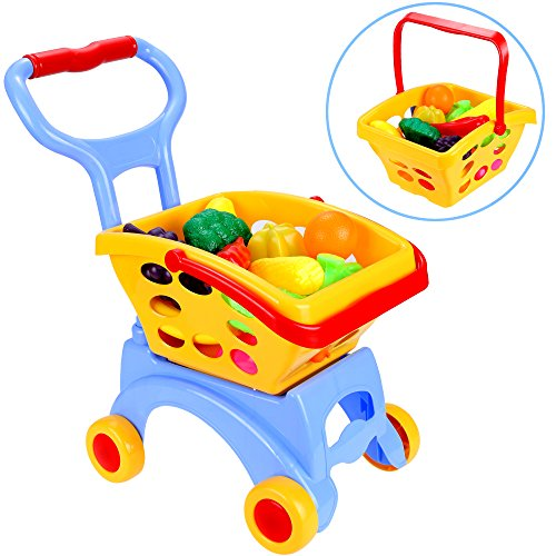 Us Stock  Arshiner Kids Little Supermarket Shopping Cart With Vegetable And Fruits Blue