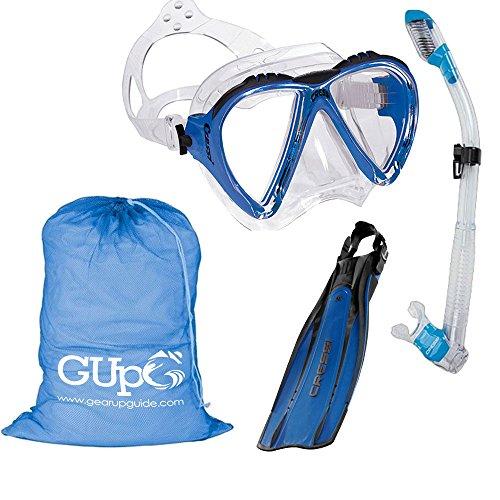 Cressi Lince Mask, Supernova Dry Snorkel, Pro Light Fins Snorkel Set w/ GupG Mesh Travel Bag L/XL Blue