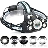 LED Headlamp,CAMTOA 5 LED 8000 Lumens Zoomable Brightest Headlamp/Head torch Headlight,5 Modes XML T6 LED with Rechargeable Batteries and Waterproof IPX6 Switch For Outdoor & Indoor Activies Black