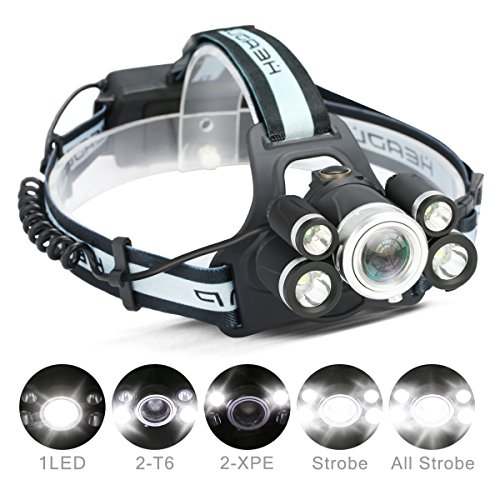 LED Headlamp,CAMTOA 5 LED 8000 Lumens Zoomable Brightest Headlamp/Head torch Headlight,5 Modes XML T6 LED with Rechargeable Batteries and Waterproof IPX6 Switch For Outdoor & Indoor Activies (Black) -