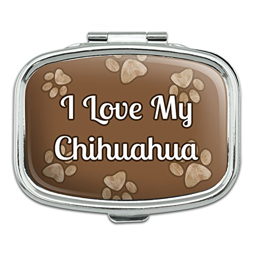 - Rectangle Pill Case Trinket Gift Box I Love Heart My C-F - Chihuahua