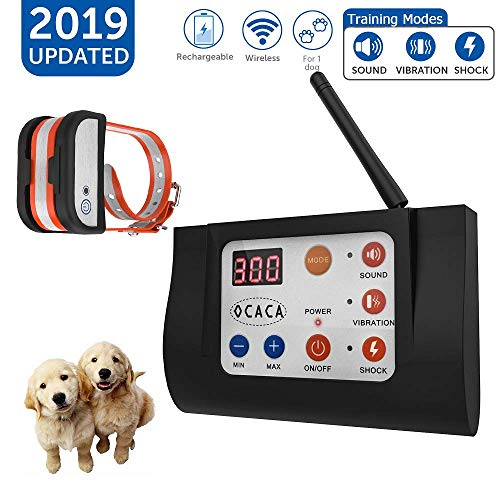OCACA 2019 Updated Remote Dog Training Collars with Wireless Dog Fence 2 in 1 System, Outdoor Adjustable Sound Vibration Shock Function, Waterproof Rechargeable Harmless for All Dogs- 1 Collar