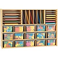 Young Time 7032YR441 Sectional Cubbie Storage with Clear Trays