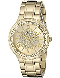 Women's U0637L2 Dressy Gold-Tone Watch with Champagne Dial , Crystal-Accented Bezel and Stainless Steel Pilot Buckle