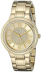 Guess Women's Satinless Steel Crystal Accented Watch, Color: Gold-tone (Model: U0637l2)