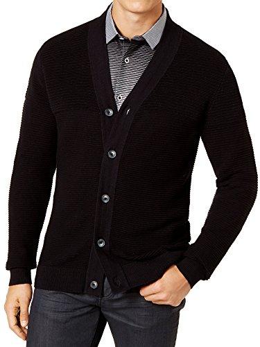 Alfani Mens Cardigan Sweater (XLarge, Black)