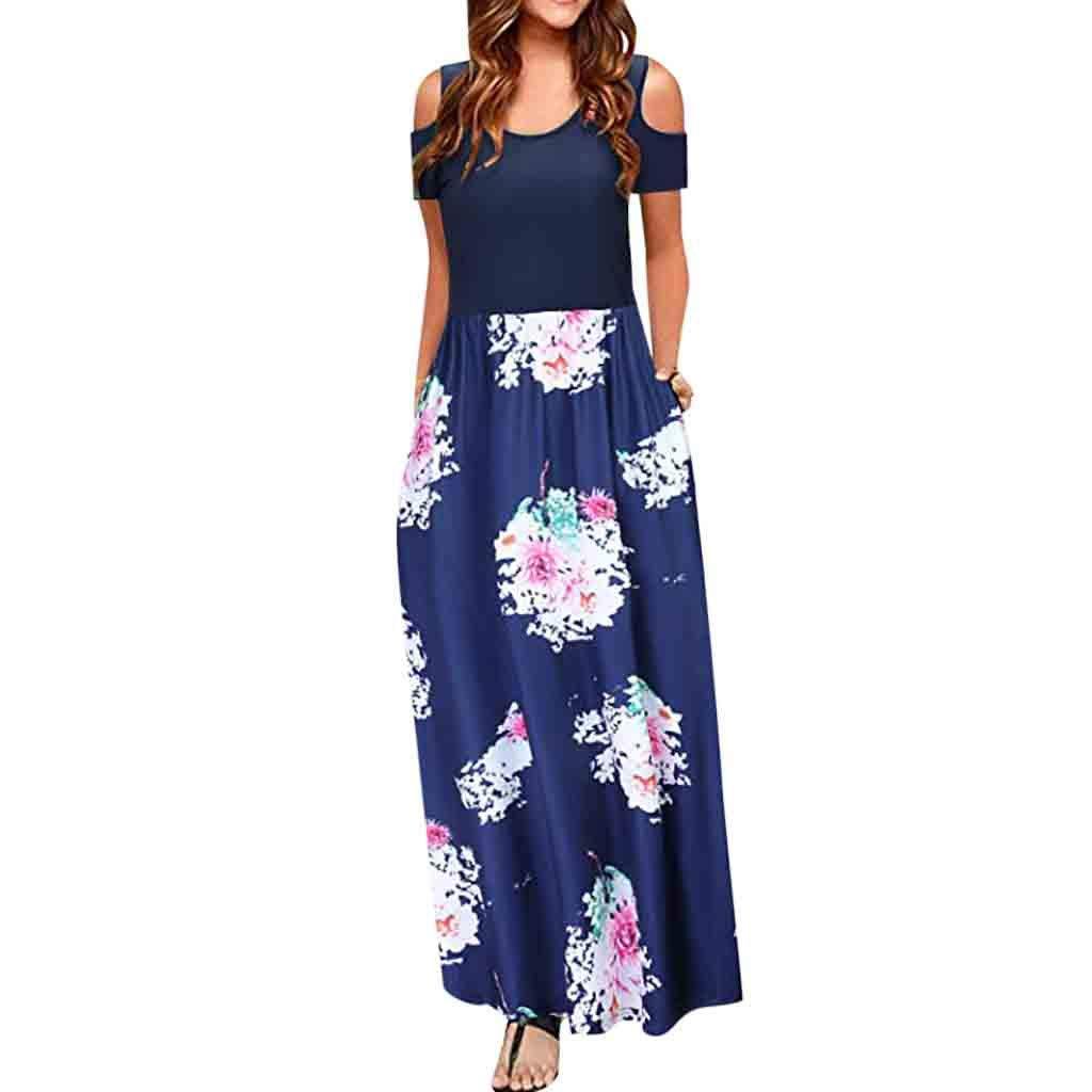 Dress for Women Elegant for Party,St.Dona Vintage Cold Shoulder Pocket Floral Print Maxi Short Sleeve Casual Dress