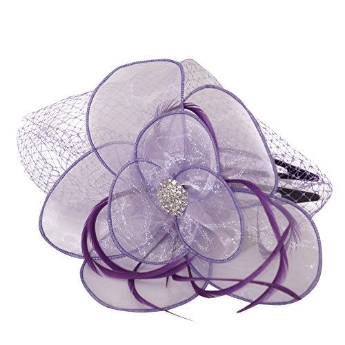 June's Young Femme Chapeau bibi Fleur Fascinator Bandeau de Cheveux Coiffes de Nuptiale Mariage Violet